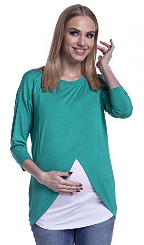 Happy Mama. Para Mujer Top Cruzado Diseño de Capa Premamá y de Lactancia. 446p Verde Azulado
