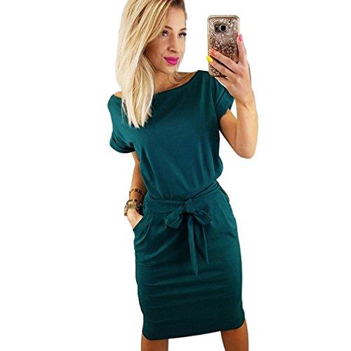 Kasoni Womens Casual Dress Short Sleeve Wear to Work Elegant Office Dress with Belt Dark Green M -