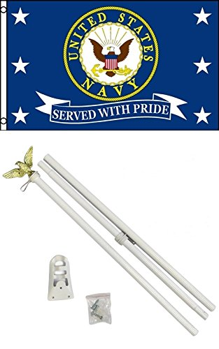 3'x5' US NAVY SERVED WITH PRIDE Polyester Flag and 6' POLE KIT