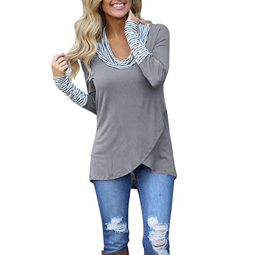 Connia Women Long Sleeve Stripe Patchwork Blouse O-Neck Stitching Irregular High Collar Pile Tops Sweatshirt (Gray, L) -