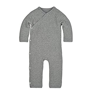 Burt's Bees Baby baby girls Romper Jumpsuit, 100% Organic Cotton One-piece Coverall and Toddler Footie, Heather Grey Quilted Kimono, 0-3 Months US