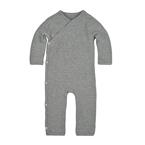 Burt's Bees Baby Unisex Baby Organic One-Piece Romper Coverall, Heather Grey Quilted Kimono, 12 Months