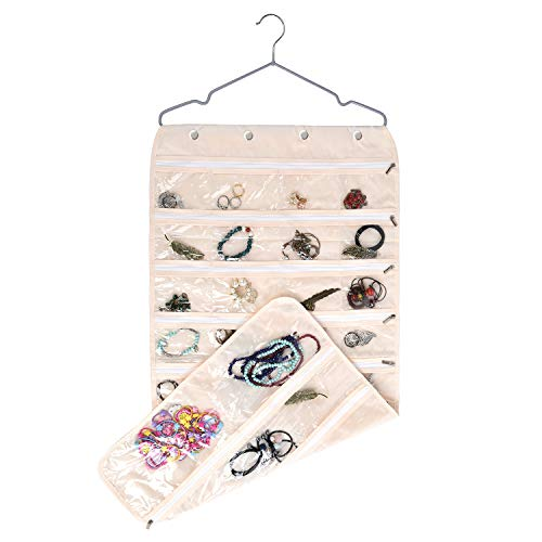 (TGbranch 56 Pockets Dual Sided Jewelry Hanging Organizer Oxford Storage Bag with Zipper Hanger (Beige))