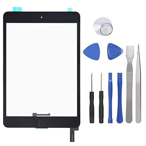 Touch Screen Digitizer for iPad Mini 4-4th Generation iPad Mini Front Glass Replacement with Home Button & Tool Repair Kit (A1538, A1550) - Black