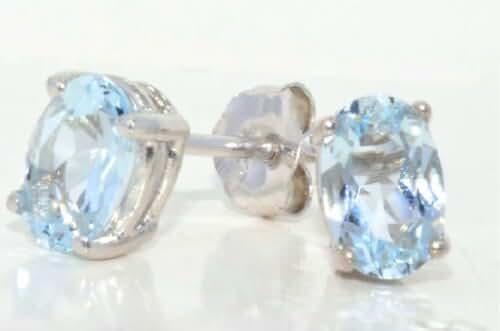 1 Carat Genuine Aquamarine Stud Earrings .925 Sterling Silver Rhodium Finish