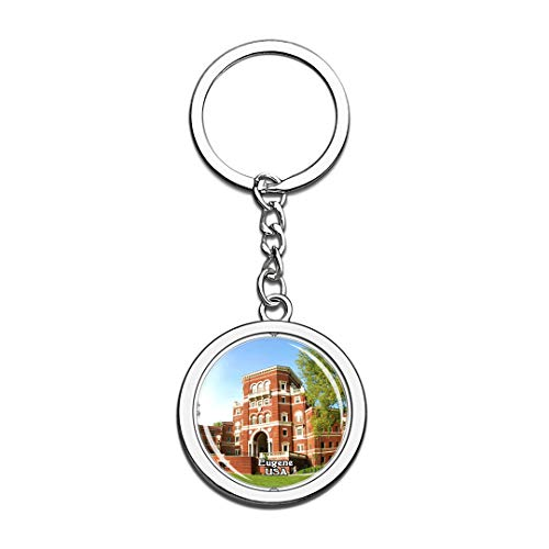 Keychain University of Oregon Eugene United States USA US Keychain Crystal Spinning Round Stainless Steel Keychains Souvenir Key Chain Ring ()