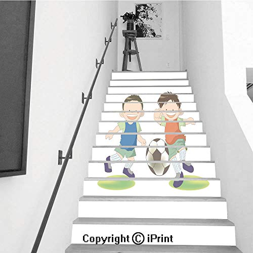 baihemiya stickers 13Pcs Stair Sticker Decals 3D Creative Building Stair Risers Tiles Wallpaper Mural Self-Adhesive,Football Kids Dribble