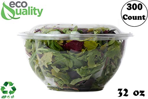 - 32oz Salad Bowls To-Go with Lids (300 Count) - Clear Plastic Disposable Salad Containers | Airtight, Lunch, Salads, Parfait, Fruits, Leak Proof, Airtight, Fresh, Meal Prep | Rose Bowl Container (32oz)