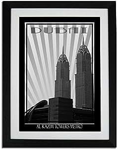 Al Kazim Towers Metro - Black And White F01-nm (a3) - Framed