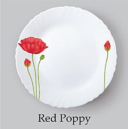 Buy Cello Imperial Red-Poppy Opalware Dinner Set, 19 Pieces, White ...