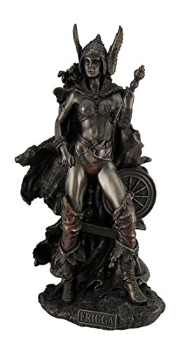 Zeckos Resin Statues Frigga Norse Goddess of Love Marriage and Destiny Standing Near Spindle Statue 5.5 X 10 X 4 Inches Bronze Model # WU75526A4 from Zeckos