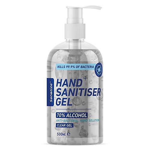 Sanotize Hand Sanitiser Gel – 70% Alcohol – 500ml Pump Bottle Large – Certified Medical Grade & Antibacterial – Kills 99…
