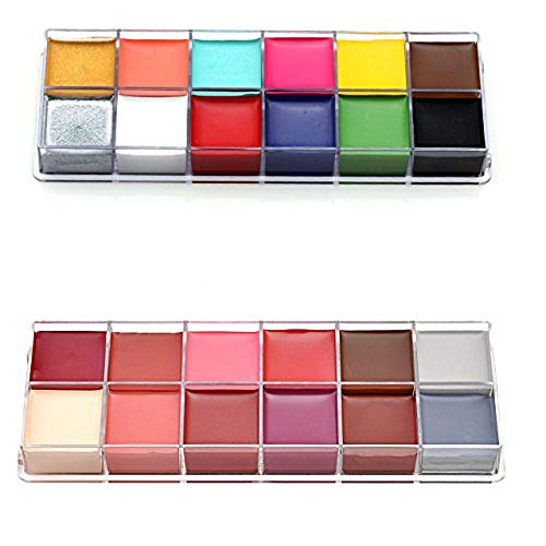 CCbeauty Professional Face Paint Oil 24 Colors Painting Art Party Fancy Make Up Set 1 + Set 2 ()