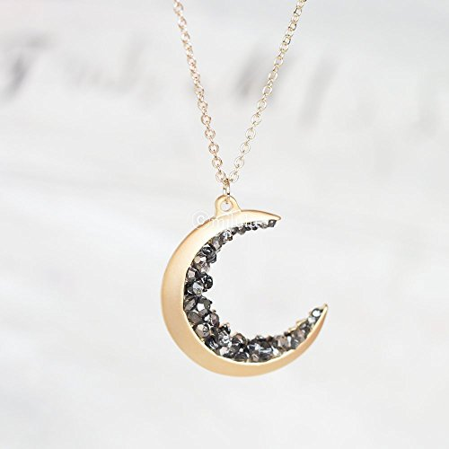Gold Plated Crescent Moon Encrusted With Black Crystals Jewels Long Necklace