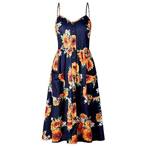 Sunsee Women Vintage Dress, O Neck Floral Printed Evening Party Prom Hepburn Printed Waist Irregular Skirt Dress Navy