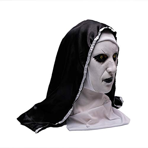 Wellin The Nun Scary Latex Mask, Halloween Party Scary Mask, Latex Masquerade Prop (The Nun)]()