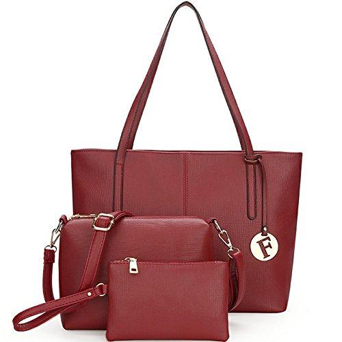 main bandoulière Fexkean cuir à sac mode Rouge 3pcs cuir sac à sac sac femme sac pu 4q4rPC8w