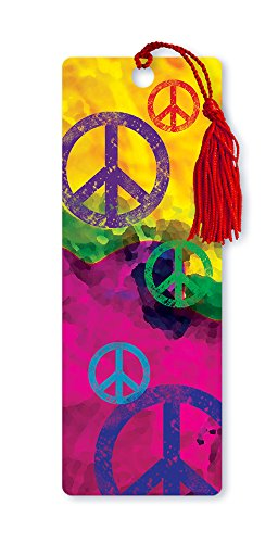 Dimension 9 3D Lenticular Bookmark with Tassel, Groovy Peace Signs (LBM106)