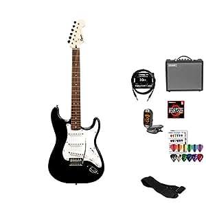 starcaster by fender strat electric guitar starter pack black musical instruments. Black Bedroom Furniture Sets. Home Design Ideas