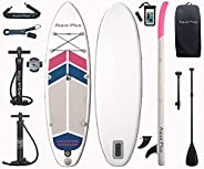 Aqua Plus 10ftx32inx6in Inflatable SUP for All Skill Levels Stand Up Paddle Board, Adjustable Paddle,Double Ac