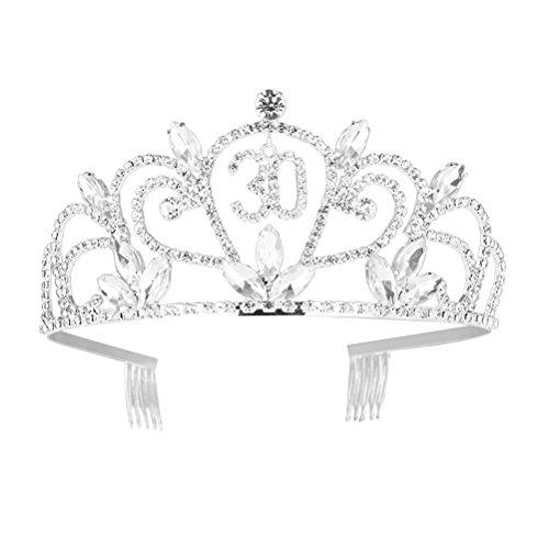 Frcolor 30th Birthday Tiara Bling Rhinestone Tiara 30th Birthday Crown for Hair Decoration
