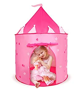 Princess Castle Children's Tent | Pink Castle Tent with Glow in the Dark Stars | Fairy Houses for Kids | Glow Castle Kid's Play Tent for Sleepovers, Playdates & Travel by Boxiki Kids