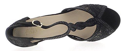 ChaussMoi Cordón DE 2,5 cm de La Plataforma 11,5 cm Aguja Zapatos Mujer Tacón Rhinestone Negro