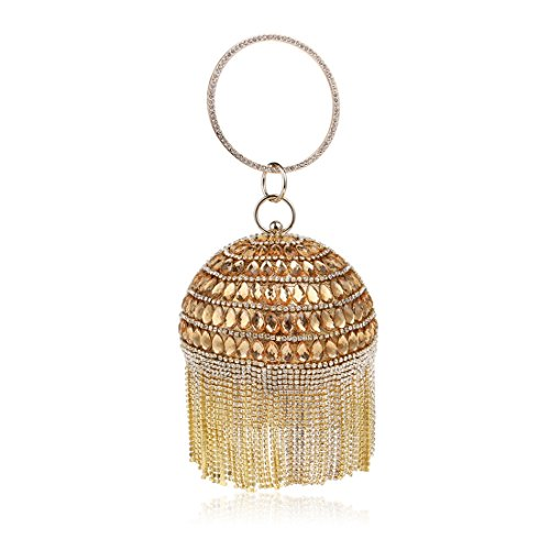 Women Handbag Round Ball Tassel Evening Clutch Purse Bag With Chain Strap (Color : Gold) ()