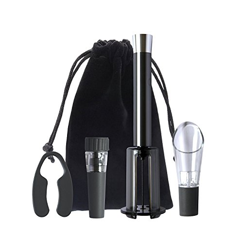 Allstar Innovations- Vino Pop Perfect Wine Opener Gift Box, Includes Wine Sealer, Wine Foil Cutter, Aerator Pour Spout and Organizing Pouch, As Seen on TV (Slate)