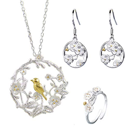 erling Silver Sakura Flower Charm Cubic Zirconia Crystal Pendant Necklace and Earring Jewelry Set for Women and Girl (Engraved Flower and Bird Set) ()