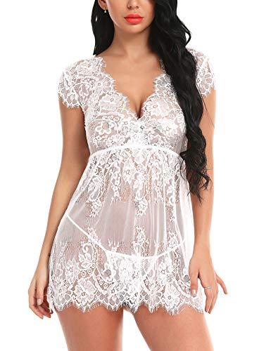 Mathea Women's Eyelash Lace Babydoll Lingerie Mesh Nightwear Set Sheer ()