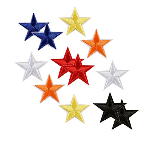 AKOAK 1.7 Inches Star Iron-On Patches,12 Pieces Star patch Applique Embroidered Sew Iron-on Patch Patches Sewing Craft Decoration,6 Assorted Colors