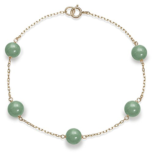 (10k Yellow Gold 6mm Green Jade Station Chain Tin Cup Bracelet,7.5