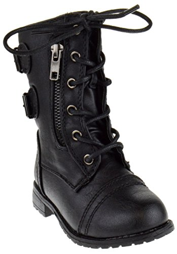 Link Mango-61Ka Baby Girls Combat Lace Up Boots Black Toddler,Black,8 (Combat Child Boots)