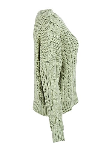 B dressy Women's Chic Loose V Neck Chunky Cable Lons Sleeve Sweater Light GreenOne Size