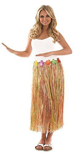 5f68b307939 Image Unavailable. Image not available for. Colour  Ladies Sexy Hawaiian  Hula Girl Long Multi Coloured Neutral Grass Skirt Fancy Dress Costume ...