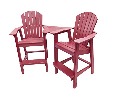 Phat Tommy Recycled Poly Resin Balcony Chair Settee – Durable and Adirondack Patio Furniture, Dark Red - Bench Adirondack Garden