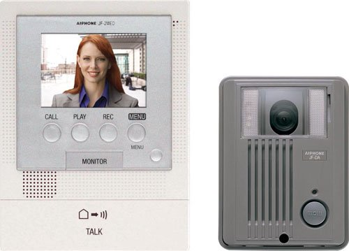 Master Intercom System (Aiphone JFS-2AED Audio/Video Intercom System with Surface-Mount Door Station for Single Door, Accepts an Additional Door Station and Up to Two Sub-Master Stations)
