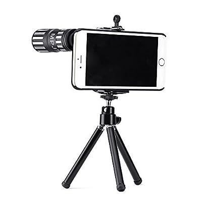 iPhone 6S Plus Lens, iPhone 6 Plus Lens, MPJ Camera Lens Kit for iPhone 6 PLUS 6S PLUS Including One 12x Zoom Aluminum Manual Focus Telescopic Optical Lens (Black)(Not For iPhone 6, 6S)