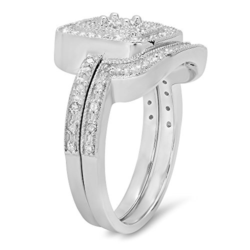 0.30 Carat (ctw) Sterling Silver Round White Diamond Ladies Bridal Halo Style Engagement Ring Set 1/3 CT
