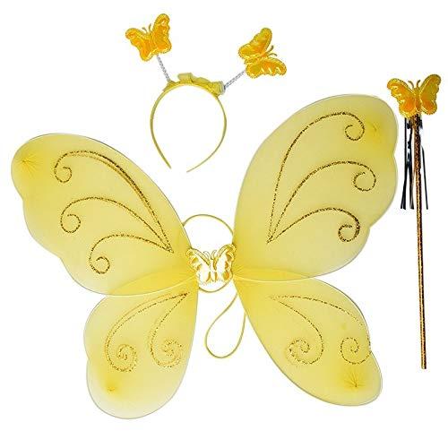Fairy Butterfly Wing 4 Piece Set Costume Tutu Ballerina Dress up Dance Skirt (Yellow)