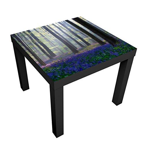 Bilderwelten Mesa de diseno - Spring Day In The Forest - 55x55x45cm, Mesa Auxiliar mesilla de Noche mesita, Tabla de Colores: Vector Blanco, Tamano: 55 x 55 x 45cm