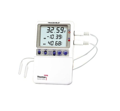 Thomas Traceable Hi-Accuracy Monitoring Thermometer, Supplied with 2 probe sensors (Chemical-resistant, waterproof sensor measures 3/16-inch diameter and is 3/4-inch long). (Monitoring Probe)