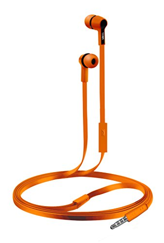 - Coby CVE-111-ORG Rush Tangle-Free Flat Cable Stereo Earbuds with Mic, Orange