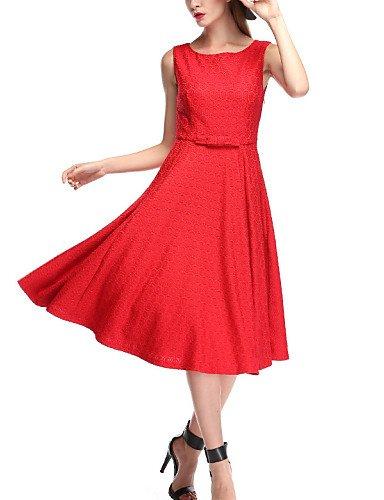 PU&PU Robe Aux femmes Vintage / Soirée , Couleur Pleine Col Arrondi Mi-long Polyester / Dentelle , red-xl , red-xl