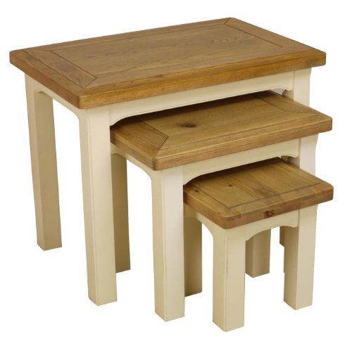 PAINTED OAK   NEST OF 3 TABLES / SIDE / END TABLES FULLY ASSEMBLED *SOLID  WOOD*: Amazon.co.uk: Kitchen U0026 Home