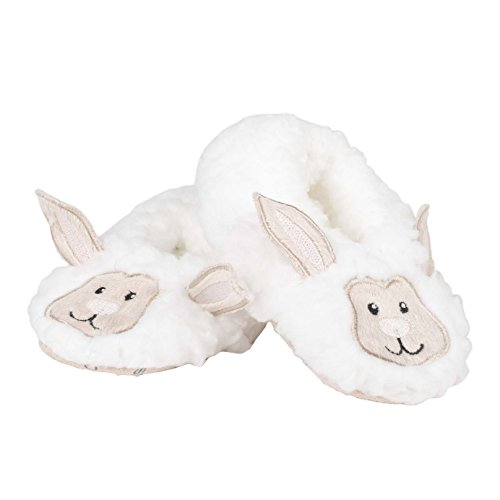 Snoozies Baby Sherpa Animal Non-Skid Slipper Socks- Lamb, Small (0/3 Months)
