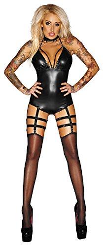 Noir Handmade Clubwear Strapsbody, 6 Strapshalter Reizwäsche Dessous Lingerie Größen 36 - S