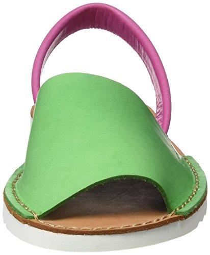 Titi Couture Masses Waves, Sandalias con Plataforma Plana para Mujer Verde (Green /     Fuchsia)