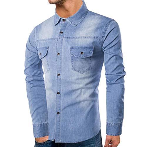 Hot Sales!! NRUTUP Men's Individuality Denim Sport Warm Coat Slim Fit Long Sleeve Shirt Autumn Casual (Belted Waffle)
